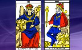 The Emperor and Empress cards - Tarot of Marseille – Maria Tarot draw